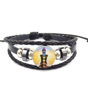 7 Chakra Snap Noosa Leather Adjustable Bracelet